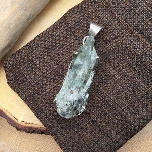 Green kyanite silver pendant